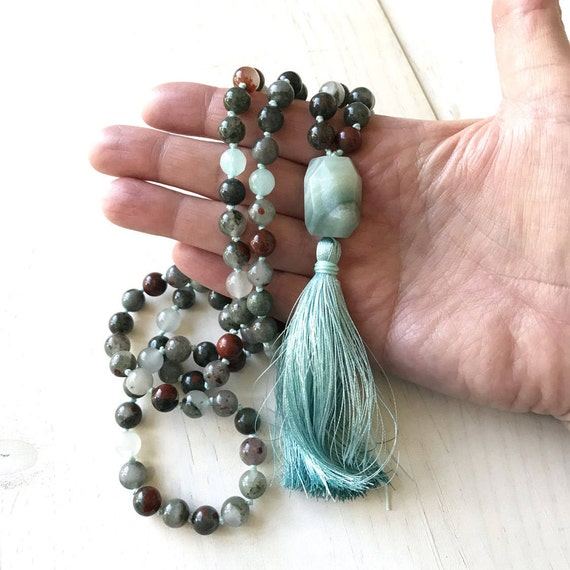 Bloodstone Mala Beads, Root Chakra Mala, Mala For Courage, Hand Knotted 108 Bead Mala, Mantra Meditation Mala, Natural Chakra Healing Mala