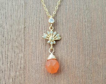 CZ Gold Lotus Flower and Carnelian Drop Gold Vermeil Necklace / 18K Gold Plated 925 Sterling SIlver  / Carnelian / Wire Wrapped Stone