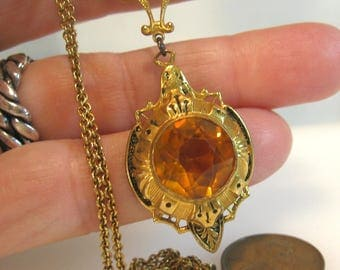 Victorian Pendant Gold Filled With Topaz Table Cut Glass Faceted Stone
