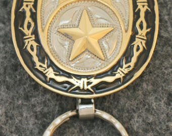 IN STOCK custom handcrafted personalized western key chain with star in center