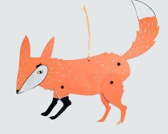 Fox, articulated puppet, screen printing craft