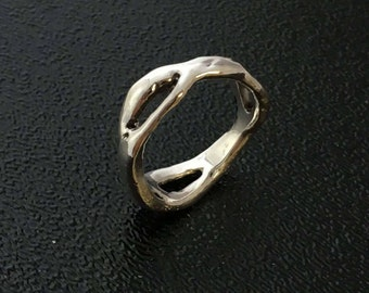 Handmade Free Flowing Sterling Silver Ring Size 7