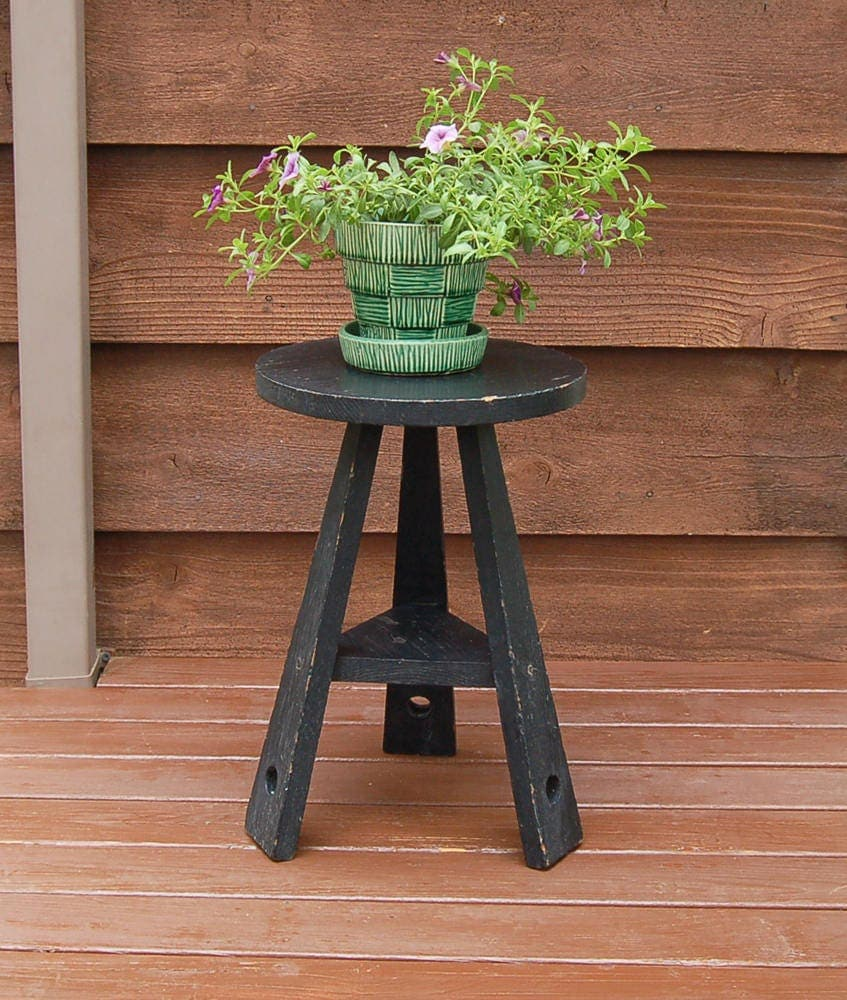 Wood plant stand vintage wooden round top table