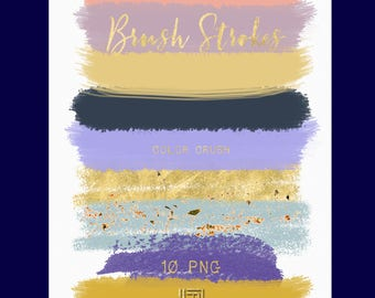 Brush Strokes Clip Art. Colour crush. Light purple, pink, gold, mustard glitter palette. Watercolor clipart. Digital Design Resource