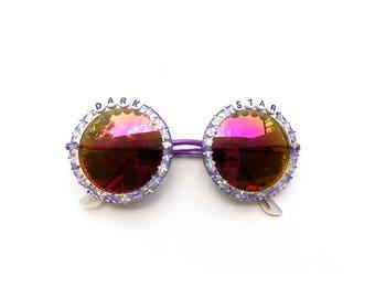 "Grateful Dead ""Dark Star"" embellished sunglasses, round sunnies decorated with Grateful Dead lyrics and tiny star rhinestones"