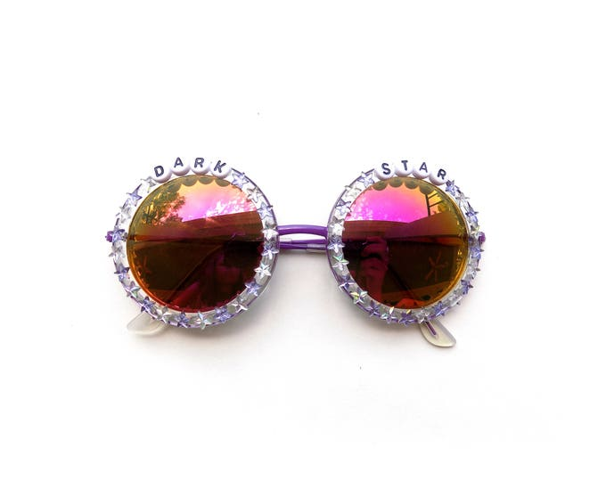 "Grateful Dead ""Dark Star"" embellished sunglasses, round sunnies decorated with Grateful Dead lyrics and tiny star rhinestones"
