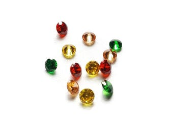 Fall Stardust Crystal Mix -12-Pack-Green, Yellow, Red, & Champagne Cubic Zirconia-2.8mm
