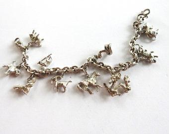 Vintage Silver Animal Charm Bracelet