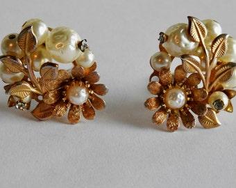 Beau Jewels Faux Pearl and Rhinestone Flower Earrings