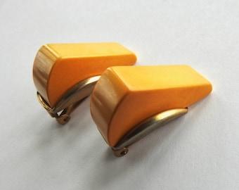 Butter Scotch Bakelite Clip on Earrings