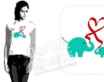 Elephant Heart Machine Embroidery Design 5 Sizes