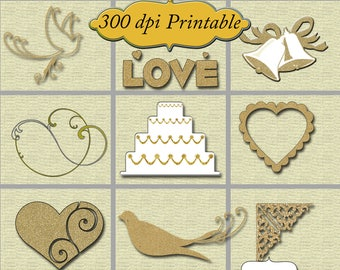 Wedding in Gold High Resolution Printable Embellishments