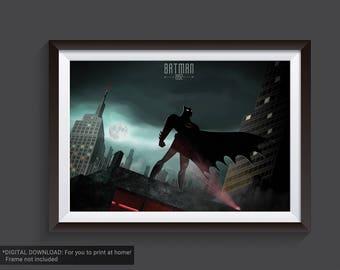 Batman the animated series, DC Comics, Dark Knight, poster, Gotham City, DC Universe, 90s, 1992