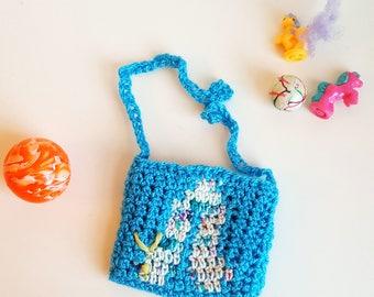 Crocheted White Caterpillar Child's Bag, Blue and White Caterpillar, Caterpillar Little Girl Purse