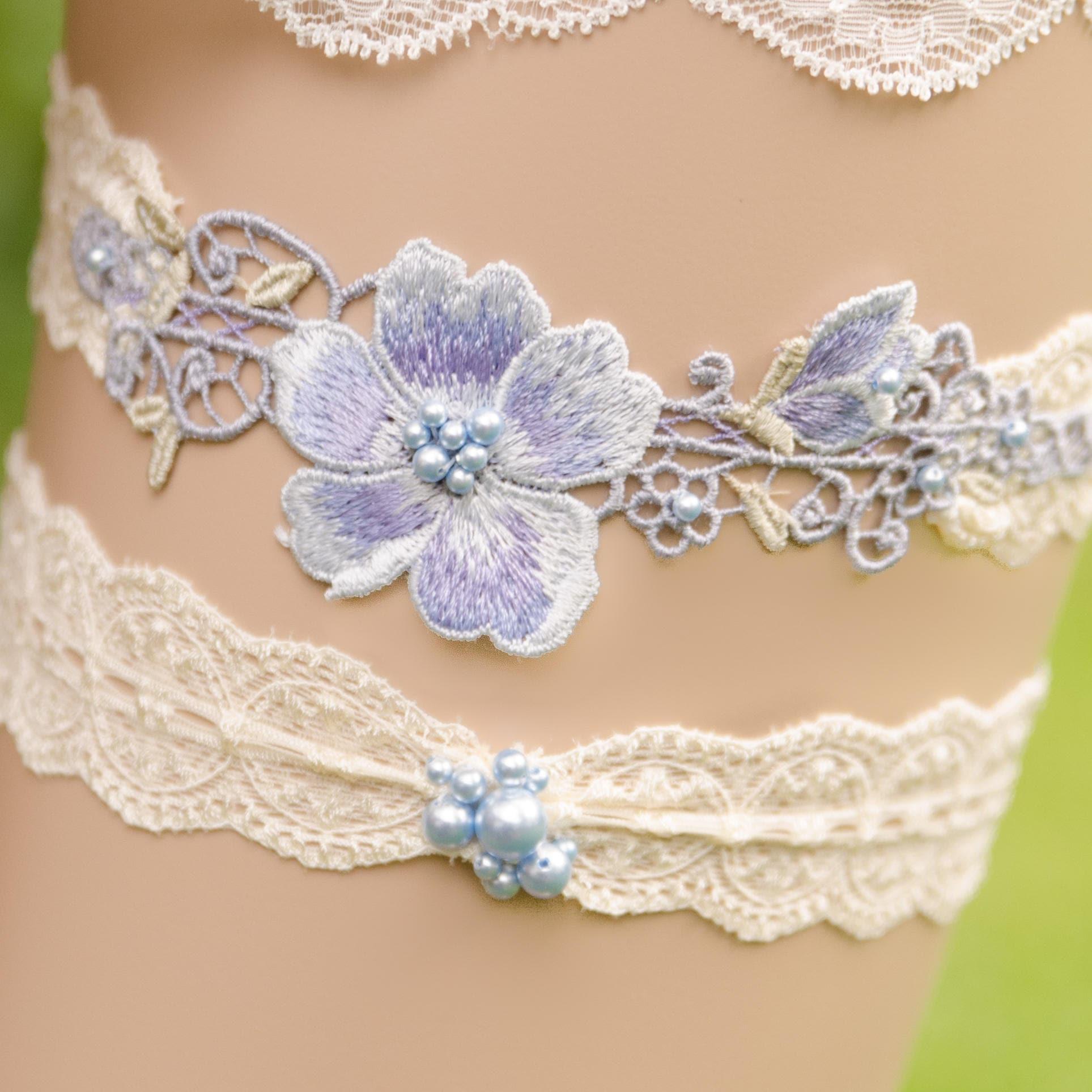 Blue Wedding Garter Uk: Something Blue Lace Garter Set Light Blue Wedding Garter