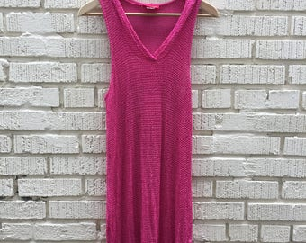 90s Pink Dress With Hood. 1990s Sheet Knit Beach Cover Up. Small. Medium. Gloria Vanderbilt Beach.