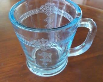 Vintage Fire King Sapphire Blue Glass Embossed Mug
