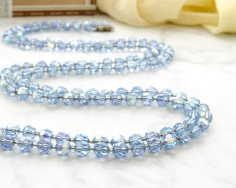 Art Deco Necklace For Bride - Vintage Flapper Crystal Necklace - 1920s Long Blue Necklace - Gift For Boho Girl - Downton Abbey