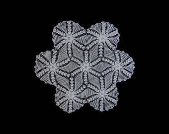 Vintage handmade crocheted table centerpiece doily -- large white centerpiece with flower-and-star center -- 27 inches / 71 cm