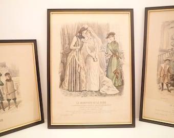 "1800's Antique Fashion Print from French Fashion Magazine "" Le Moniteur de la Mode "" 1889 Paris. Wedding Dress  Ladies Dress engraving frame"
