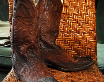 Vintage Brown Stingray Cowboy Boots Exotic Leather 11 1/2 D