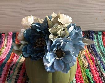 Green & Blue Spring Floral Arrangement Centerpiece