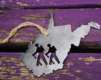 West Virginia Hikers State Christmas Ornament Rustic Raw Steel Personalize Engrave  WV Metal Holiday Decoration Stocking Stuffer Hike Hiking