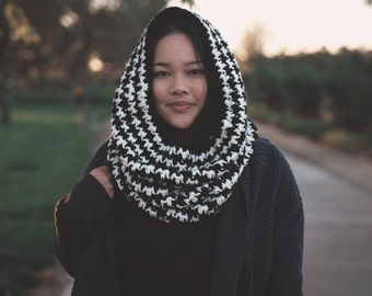 THE JOSHUA COWL, houndstooth chunky cowl, crochet chunky cowl, crochet scarf, crochet neckwear, black and white cowl, houndstooth pattern