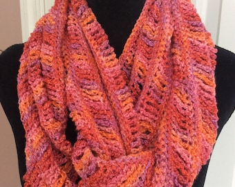Great colors! Light weight hand crochet  infinity scarf, ready to ship