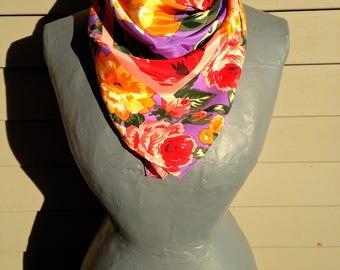 Vintage Vera Silk Scarf with Amazing Color