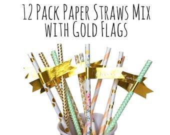 Floral Straws, Mint, Peach and Gold Foil Paper Straws with Gold Labels, Name Tags, Flags, Drinks Straws, Zig Zag Straws, Party Supply, Decor