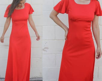 Maxi/ Red Dress/ Red Maxi Dress/ 70s Disco Dress/ Small/ Vintage Red Dress/ Long Red Dress