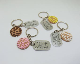 Don't be self conchas keychain (concha keychain, pan dulce, dog tag, latinx)