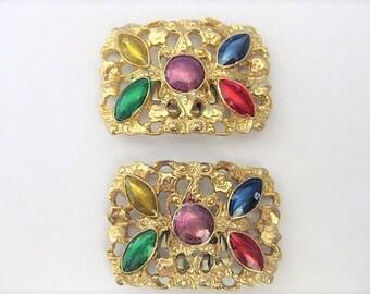 Vintage Accessories ~  Shoe Clips Pair  Gold Enamel    S.G. D'or