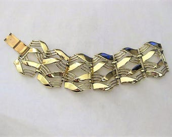 "Vintage Jewelry ~  Bracelet  Wide  Link  Gold-tone   by Coro     7"" long"