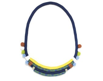 African Fabric Necklace | Shweshwe | Statement Jewellery | South Africa | Navy, Green, Coral, White