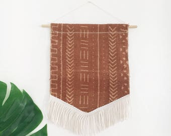 Mudcloth Wall Hanging with Fringe | Rust