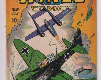 Wings Comics; Vol 1, 59, Golden Age War Comic Book. GD+ (2.5). July 1945. Fiction House.