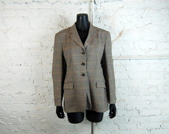Vintage 1990s Heythrop Wool Tweed Houndstooth Competition Jacket w/ Fox Buttons (Size 18)