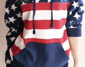 Washed American Flag Hoodie Sweatshirt. American Flag Clothing. American Flag Shirt. 4th of July. Stars and Stripes Sweatshirt. July 4th