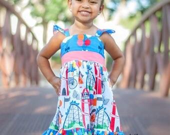Girls balloon dress, county fair dress, baby dress, toddler dress, blue, red dress, roller coaster dress. Party dress, girls clothing