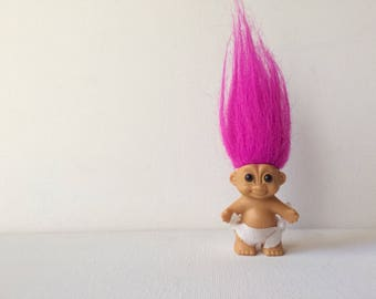 "vintage russ troll doll, 2"", baby troll, diaper, pink hair"