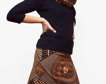 Jupe en wax réversible, jupe courte, jupe imprimée Africain, jupe Ankara, mini jupe, jupe ethnique, jupe africaine, motif ethnique/cercles