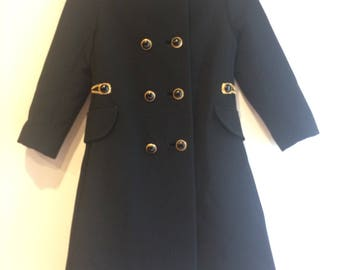 Vintage Mod 1960s Beautifully Tailored Peter Pan Collared Double Breasted Pea Coat with Stitched Curb Chain Belt! RARE!