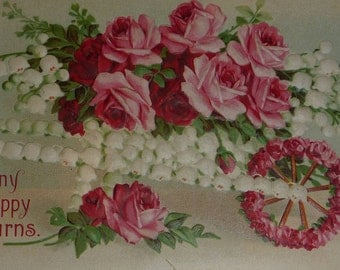 Cart Covered on Lilies of the Valley Filled With Pink & Red Roses Antique Birthday Postcard