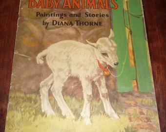 Baby Animals Paintings and Stories By Diana Thorne Vintage 1932 Childrens' Book