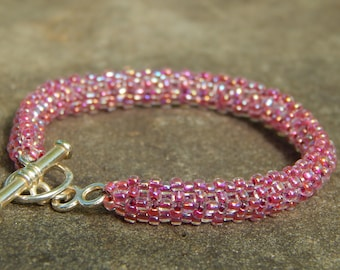 Pink and Silver Woven Seed Bead Bracelet