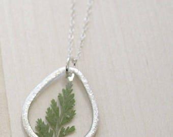 Fern Silver Teardrop Pressed Flower Necklace