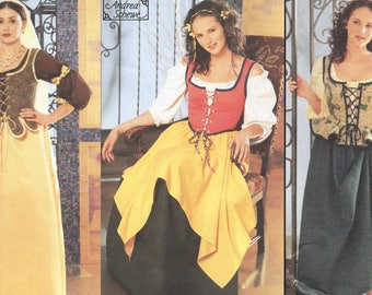 Ladies Medieval Maiden Costume Pattern Wench Damsel Gypsy Renaissance Faire Costume Sewing Pattern Simplicity 5582 Bust 34 36 38 40 42 UNCUT
