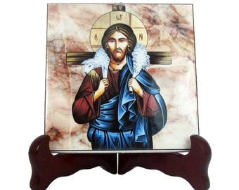 Christian gifts - Jesus Good Shepherd icon on ceramic tile - christian wall art - The Good Shepherd - christian icons - gift for christian